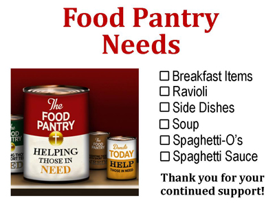 Food Pantry Needs October 9, 2017